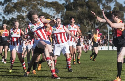 Action from the 2015 Melbourne Reclink Community Cup fundraising football match.