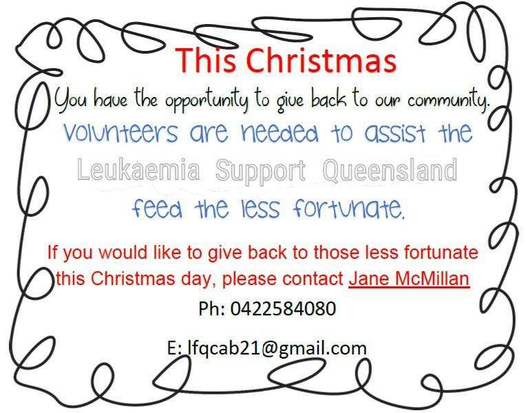 Caboolture Memorial Hall Serve the Less Fortunate Christmas day