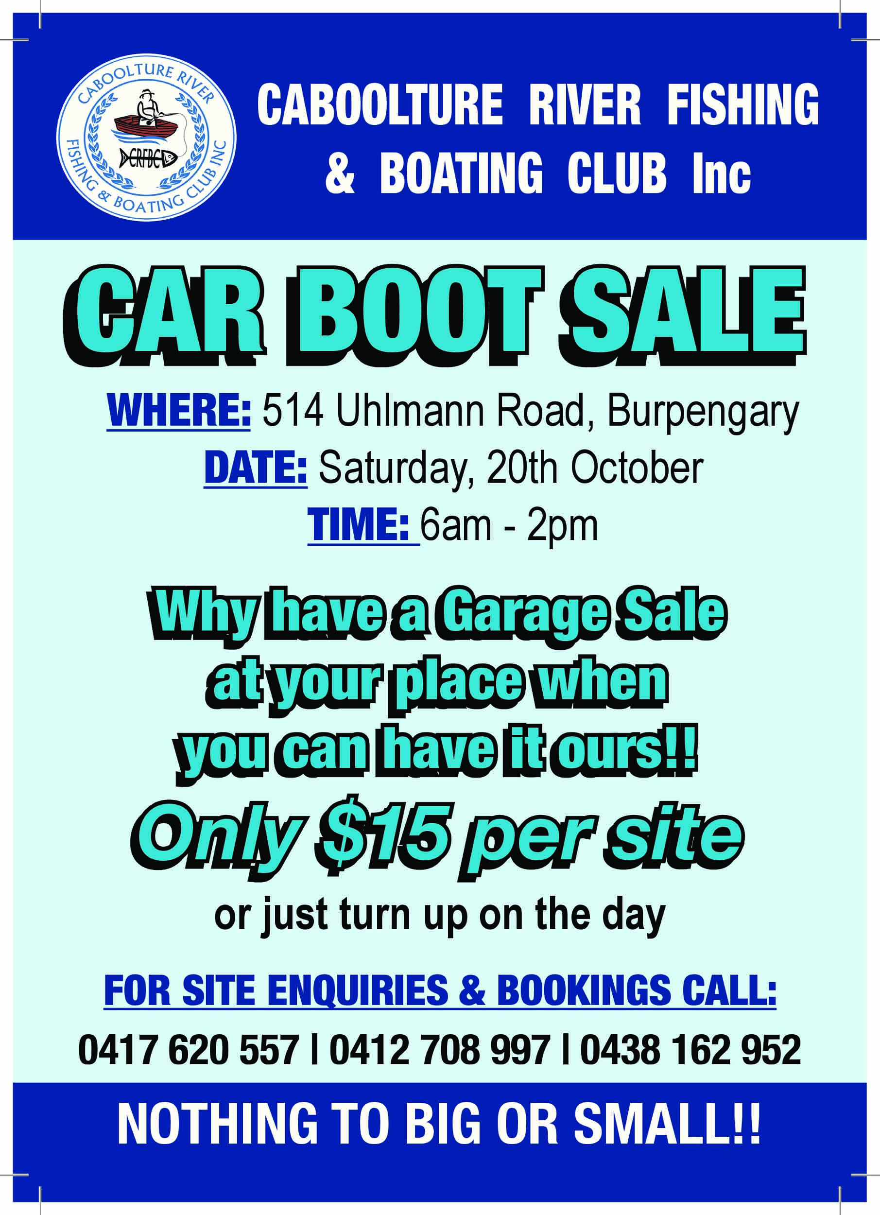 Caboolture River Fishing and Boating Club Car boot Sale-page-0 small