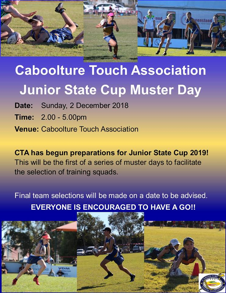 Caboolture Touch State Cup 2019 start Dec 2