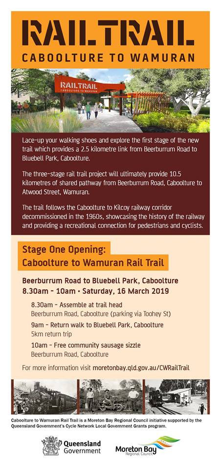 Caboolture to Wamuran Rail Trail Stage 1 opening 2019
